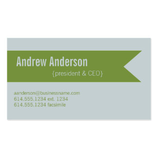 Modern Colors Light Gray & Green Design 2 Card Double-Sided Standard Business Cards (Pack Of 100)