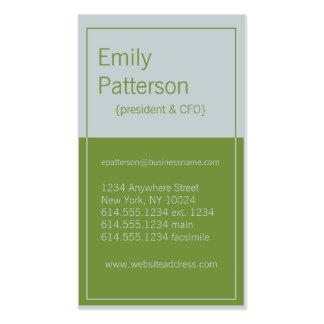 Modern Colors : Light Gray & Green Design 5 Card Double-Sided Standard Business Cards (Pack Of 100)