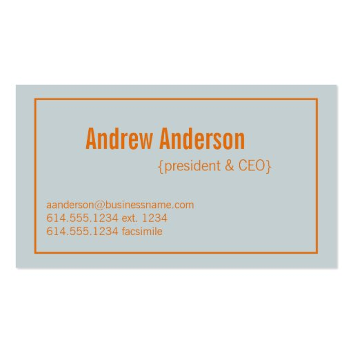Modern Colors Light Gray & Orange Design 3 Card Double-Sided Standard Business Cards (Pack Of 100)