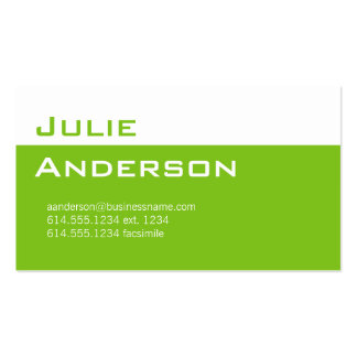 Modern Colors Lime Green & White Business Card 1