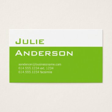 Professional Business Modern Colors Lime Green & White Business Card 1