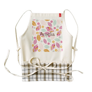 modern,colourful,leaf pattern,trendy,girly,cute,pr zazzle HEART apron