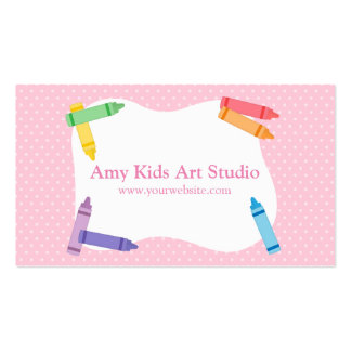 Modern Colourful Rainbow Crayons Pink Polka Dots Double-Sided Standard Business Cards (Pack Of 100)