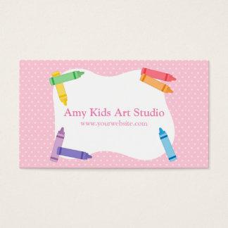 Modern Colourful Rainbow Crayons Pink Polka Dots Business Card