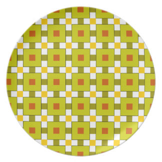 Modern Colourful Squares Pattern Dinner Plate