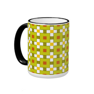 Modern Colourful Squares Pattern Ringer Mug