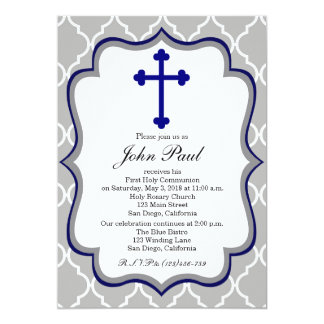 Modern Communion Invitation Quatrefoil for Boys