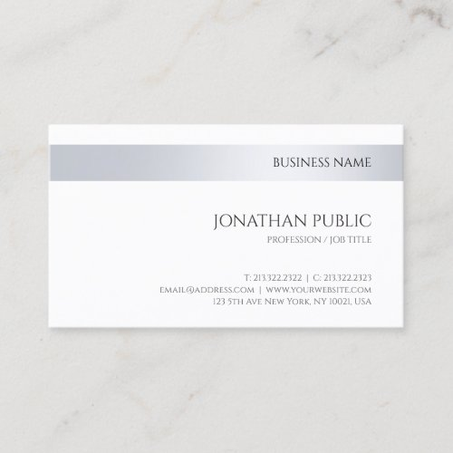 Modern Company Elegant Silver Minimalist Template Business Card