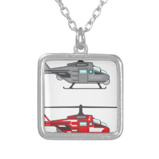 Modern Concept Helicopter Square Pendant Necklace