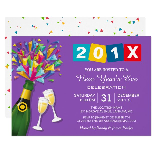 Modern Confetti Cheers to New Year's Eve Party Card