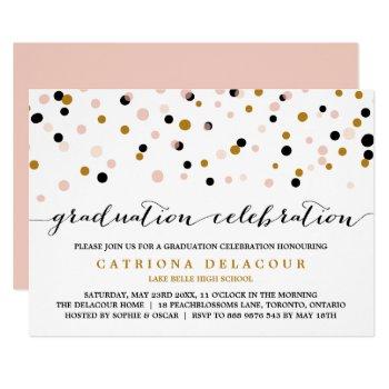 Modern Confetti Dots | Blush And Gold Graduation Card by misstallulah at Zazzle