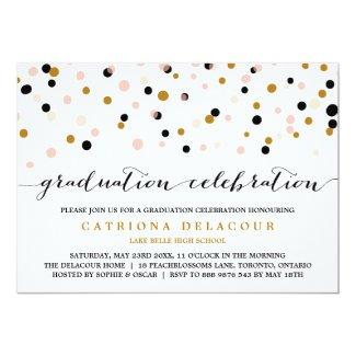 Modern Confetti Dots | Blush and Gold Graduation Card