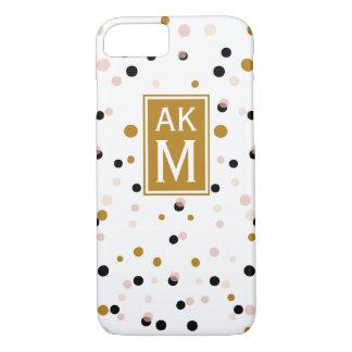 Modern Confetti Dots Monogram iPhone 7 Case