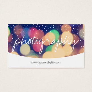 Modern Confetti Dots Script Photography Business Card