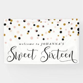 Modern Confetti Dots Sweet Sixteen Birthday Banner