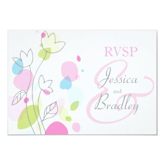 Modern confetti flower petals formal wedding RSVP Card