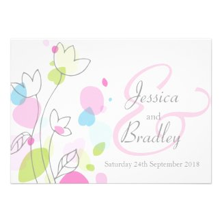 save the date, wedding invitation and stationery for a colorful Confetti Petals themed wedding