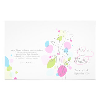 Modern confetti flower petals Wedding Programme Personalized Flyer