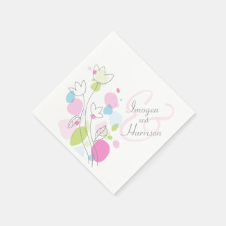 Modern confetti flower wedding napkins