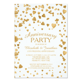 Modern Confetti Heart Anniversary Party Invitation