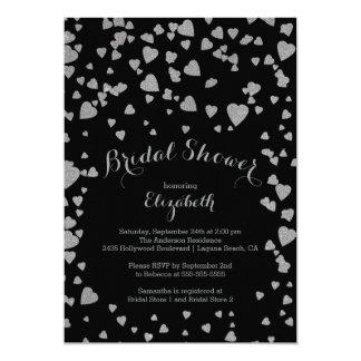 Modern Confetti Hearts Bridal Shower Invitation