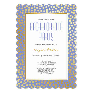 Modern Confetti Polka Dots Lavender and Gold Card
