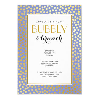 Modern Confetti Polka Dots Lavender Gold Party Card