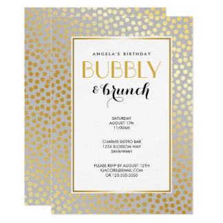 Modern Confetti Polka Dots Pattern Grey and Gold Card