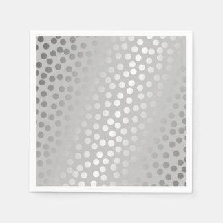 Modern Confetti Polka Dots Pattern Grey and Silver Napkin