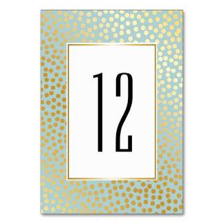 Modern Confetti Polka Dots Pattern Mint and Gold Card