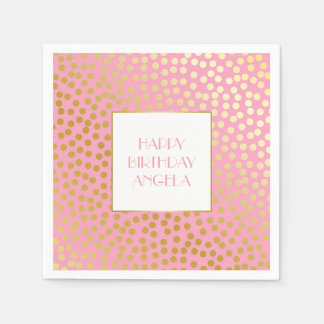 Modern Confetti Polka Dots Pink and Gold Paper Napkin