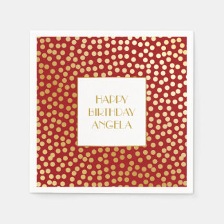 Modern Confetti Polka Dots Red and Gold Paper Napkin