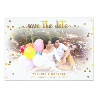 Modern Confetti Save The Date Wedding Photo Card