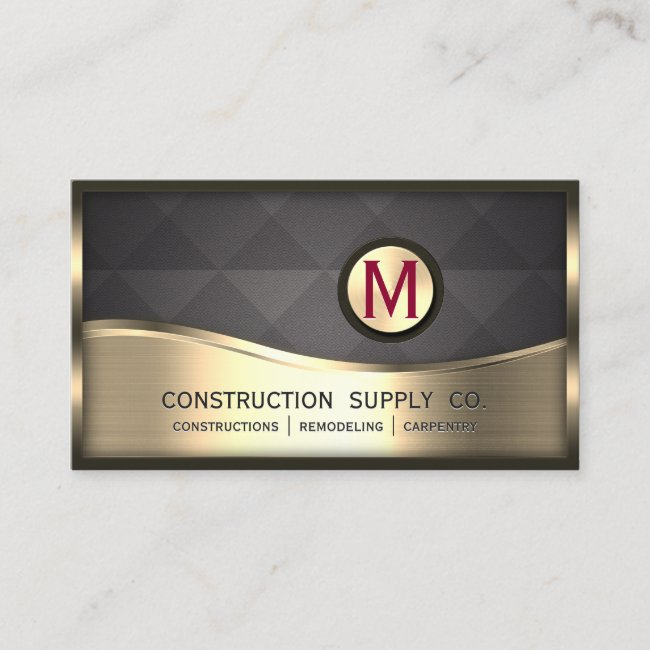 Modern Construction Monogram LOGO Black Gold Metal Business Card