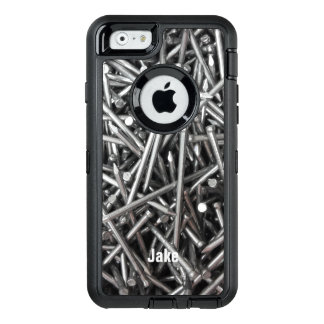 Modern Construction Worker Metal Nails Photo Name OtterBox Defender iPhone Case