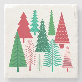 modern contemporary Christmas trees Stone Coaster