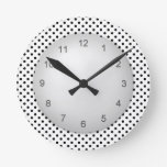 Modern Contemporary Polkadot Black and White Wall Clocks