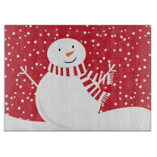 modern contemporary red and white snowman cutting board