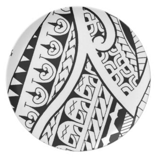 modern contemporary tattoo design Polynesia tribe Plate