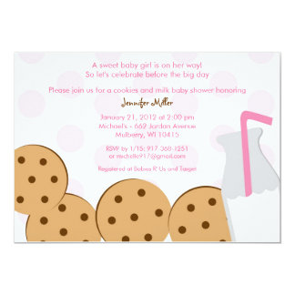 "Modern Cookies and Milk Baby Shower Invitations 5"" X 7"" Invitation Card"