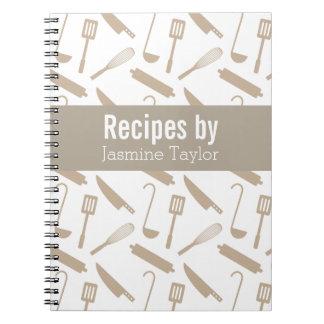 Modern Cooking Utensils Recipe Cook Book Spiral Notebook