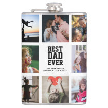 Modern Cool BEST DAD EVER Instagram Photo Collage Flask