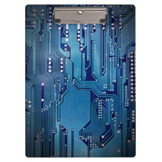 Modern Cool Blue Circuit Board High Tech Photo Clipboard