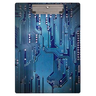 Modern Cool Blue Circuit Board High Tech Photo Clipboard