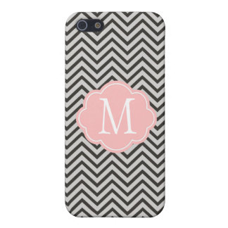 Modern, cool, dark coffee and grey chevron iPhone 5/5S case