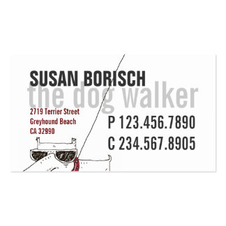 Modern Cool Dog Walker White Profile Card Template Double-Sided Standard Business Cards (Pack Of 100)