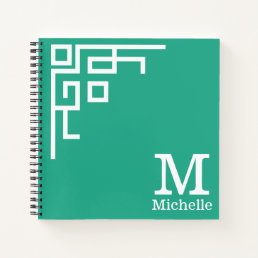 Modern Cool Geometric White Monogram Emerald Green Notebook