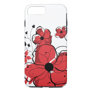 Modern Cool Girly Red and Black Flowers iPhone 7 Plus Case