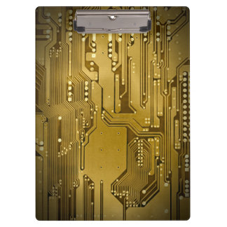 Modern Cool Gold Circuit Board High Tech Photo Clipboard