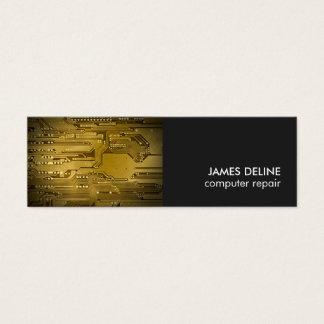 Modern Cool Gold Grey Circuit Computer Repair Mini Business Card